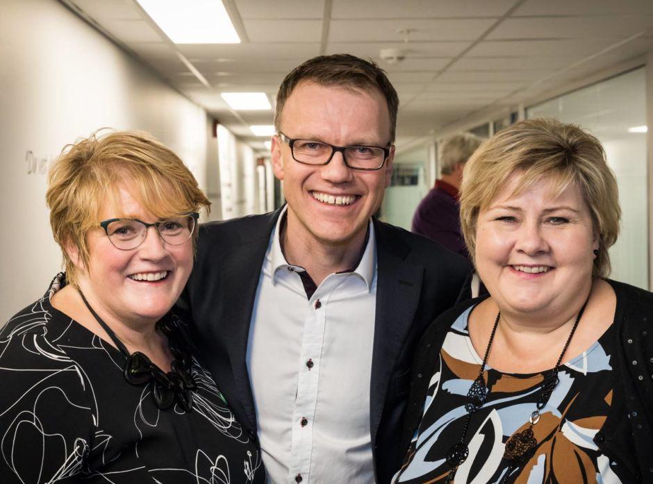 Trine Skei Grande, Erik Lahnsten og Erna Solberg etter budsjettforliket for statsbudsjettet 2017.