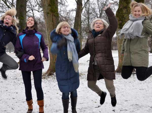 Hovedstyret, Kvinner i Skogbruket. Fra venstre: Gerd Inger Aarnes, Anna Arneberg, Tone L. Fogth, Merete Larsmon og Ingeborg Anker-Rasch. Foto: Kirsten Engeset