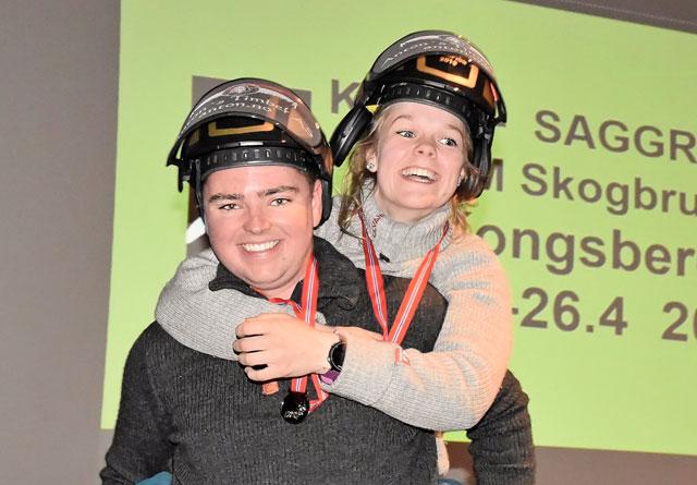 Vinnere av motorsag individuelt, ble Sivert Lindstad fra Jønsberg vgs. og Anna Gjønnes fra Tomb vgs.