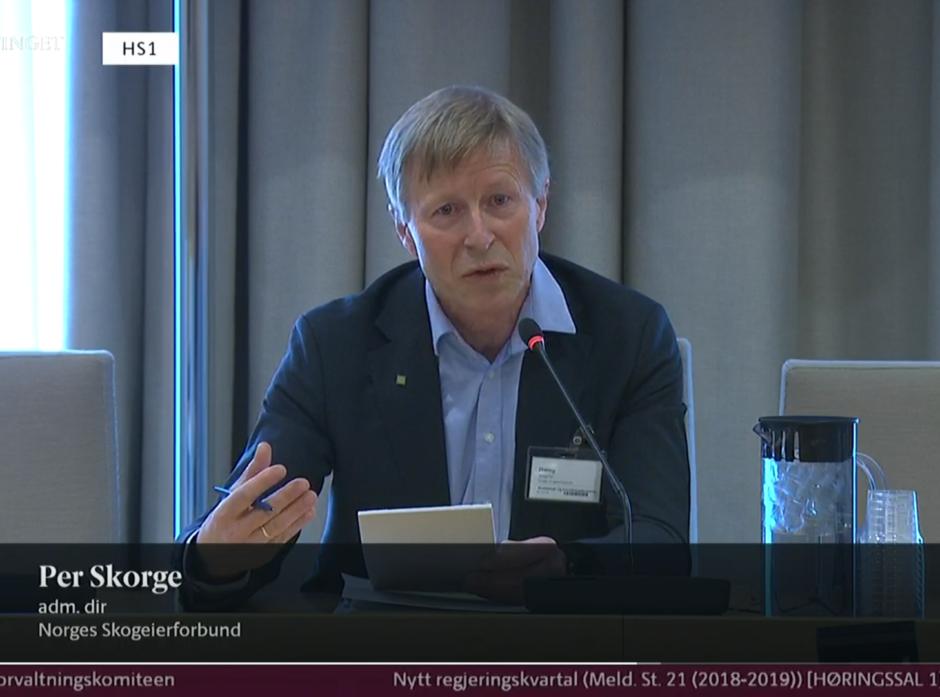 Per Skorge på høring om nytt regjeringskvartal. Skjermdump fra Stortinget