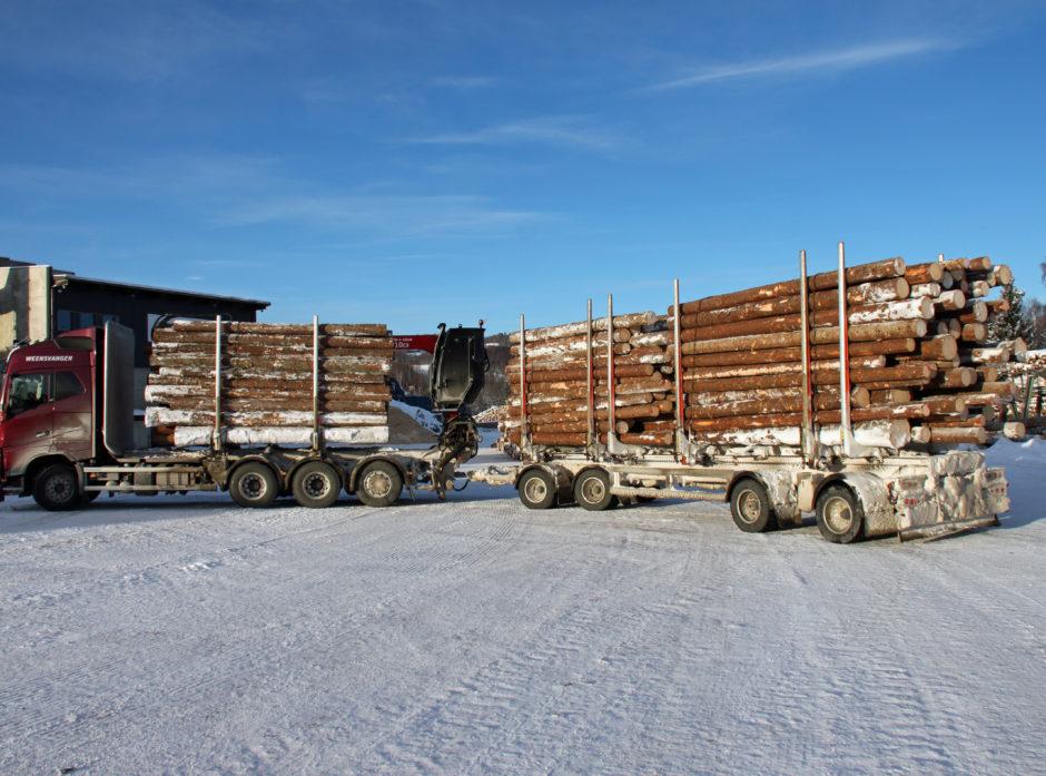 Dette vogntoget har ikke lov til å kjøre på norske veger per i dag. En prøveordning med opptill 74 tonns kjøretøy skal nå testes ut. Demonstrasjonsfoto: Dag Skjølaas.