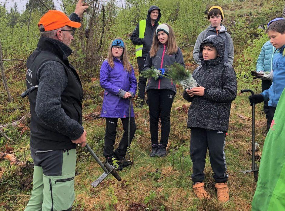 Anders Røkkum fra Skogselskapet gir elevene i Molde opplæring før de skal sette de små skogplantene ned i jorda.