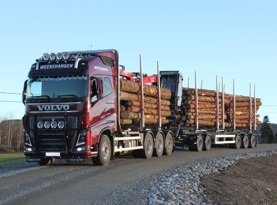 9-akslet tømmervogntog. Foto Dag Skjølaas